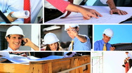 Montage of Architect Showing Client Building Progress Stock Footage