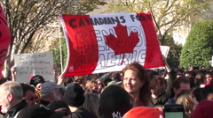 Stock Video Footage of Canadians at the Jon Stewart Colbert rally for a sensible America.