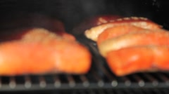 Salmon smoking Stock Footage