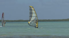 Bonaire wind surfer Stock Footage