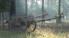 Waggon at sunrice - stock footage