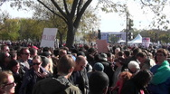Large crowds gather on the Washington D.C. mall during a political protest. Stock Footage
