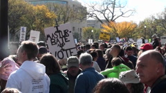 Large crowds gather on the Washington D.C. mall during a political protest. - stock footage