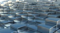 Blue steel cubes backdrop Stock Footage