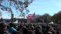 Crowds of protestors on the mall in Washington D.C. Stock Footage