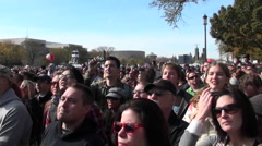 Crowds of protestors on the mall in Washington D.C. - stock footage