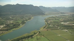 Stock Video Footage of Aerial Fraser Valley & Fraser River.