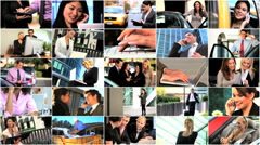 Montage of Business People & Technology Stock Footage