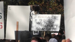 A sign is held up about ignorance and the Tea Party at a rally in Washington - stock footage