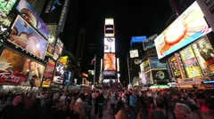 Times Square new york city neon crowd people at night 1080i time lapse Stock Footage