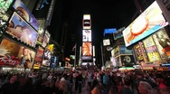 Stock Video Footage of Times Square new york city neon crowd people at night 1080i time lapse