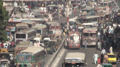 Busy rush hour traffic in Karachi, transportation in Pakistan Stock Footage
