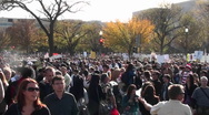 Huge crowds mill about at a political protest in Washington D.C. Stock Footage