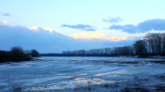 Spring lake landscape with melting ice Stock Footage