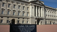 Stock Video Footage of Changing of the Guard sign Buckingham Palace London England UK