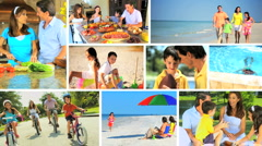 Montage of Healthy Family Lifestyle Activities Stock Footage