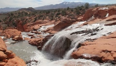 Spectacular Desert Waterfall Stock Footage