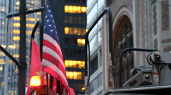 American Flag on NYFD truck. Manhattan, New York City, Fire Department (v.1) Stock Footage