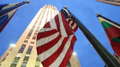 American Flag at Rockefeller Plaza, Manhattan, New York City (v.1) - stock footage
