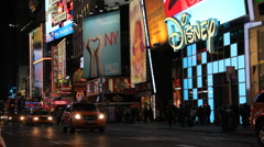 Stock Video Footage of Times Square, Manhattan, New York City. Advertisements and traffic -V.1