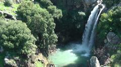 Saar River and Saar Waterfall. Bloom, flowers, sunny day. - stock footage