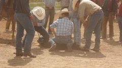 Cowboys Branding and Treating Calf Roundup Corral - stock footage