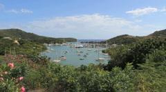 Antigua Nelson's Dockyard with flowers Stock Footage