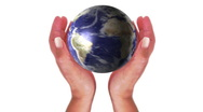 Woman holding a 3d Earth universe hands earth globe Environmental Stock Footage