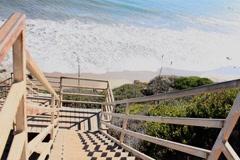 Down Stairway Ocean Stock Footage