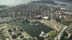 Aerial Downtown Vancouver. False Creek, Science World & BC Place Stock Footage