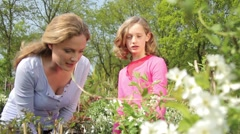 Mother and daughter smelling plants in garden centre Stock Footage