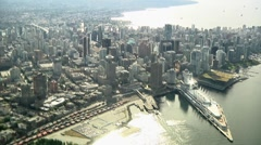Aerial Downtown Vancouver. Canada Place & waterfront. Stock Footage