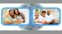 African-American Family Members Talking Via Internet Webchat Stock Footage