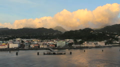 Dominica leaving at sunset Stock Footage