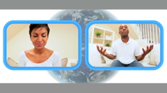 Young African-American Couple Using Live Video Webchat Stock Footage