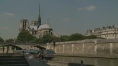 Pleasure cruise pass Notre Damn in Paris - stock footage