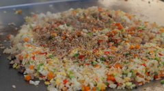 Tepanyaki Yakimeshi Rice Prepared (HD) Stock Footage