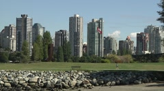 Runner in Kits Point, Vancouver B.C. Stock Footage