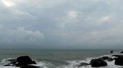 Big waves among rocks on exotic beach, Koh Samui Lamai Island, Thailand Stock Footage