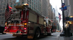 New York City Fire Department Truck Stock Footage