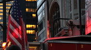 American Flag on NYFD truck. Manhattan, New York City, Fire Department  (v.2) Stock Footage