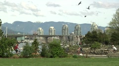 Spring at Charleson Park, Cambie Bridge, Vancouver B.C. Stock Footage