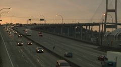 Early morning traffic on Alex Fraser Bridge, Vancouver B.C. Stock Footage
