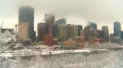 Calgary skyline winter low cloud wide shot framed w/snowy trees Stock Footage