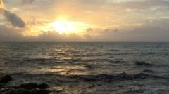 Beautiful Pacific Ocean Horizon Sunset Background - stock footage