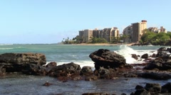 Building on the Ocean Shore Line Stock Footage