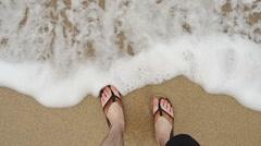 Feet in the Ocean Beach Stock Footage