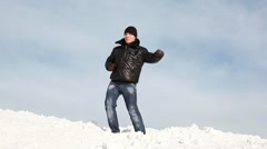 The man is dancing on the slope and then falls - stock footage
