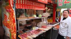 Wangfujing Snack Street Vendor - 1 Stock Footage