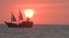Marigalante ship in the distance while the sun sets in Malecon in Puerto Stock Footage